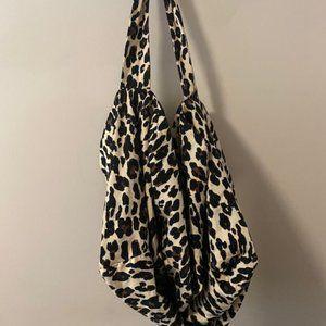 NEW!  Animal Print Hobo Bag with Green Zipper